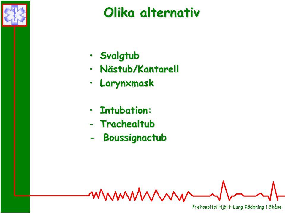 Prehospital Hjärt-Lung Räddning i Skåne SvalgtubSvalgtub Nästub/KantarellNästub/Kantarell LarynxmaskLarynxmask Intubation:Intubation: -Trachealtub - Boussignactub Olika alternativ