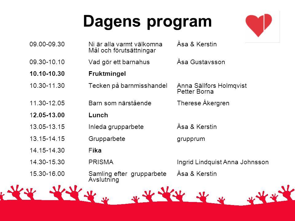 Dagens program 09.00-09.30 Ni är alla varmt välkomnaÅsa & Kerstin Mål och förutsättningar 09.30-10.10 Vad gör ett barnahus Åsa Gustavsson 10.10-10.30F