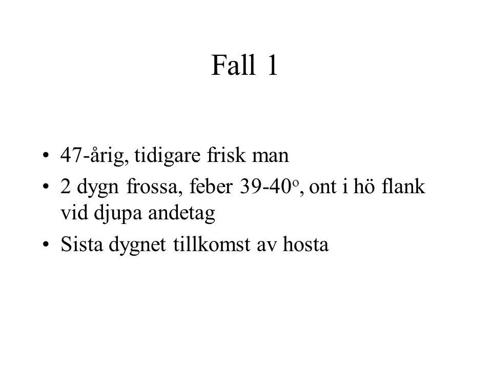Fall 1 47-årig, tidigare frisk man 2 dygn frossa, feber 39-40 o, ont i hö flank vid djupa andetag Sista dygnet tillkomst av hosta