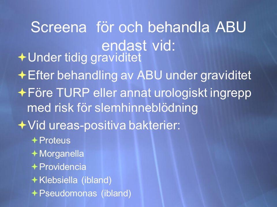 Screena för och behandla ABU endast vid:  Under tidig graviditet  Efter behandling av ABU under graviditet  Före TURP eller annat urologiskt ingrepp med risk för slemhinneblödning  Vid ureas-positiva bakterier:  Proteus  Morganella  Providencia  Klebsiella (ibland)  Pseudomonas (ibland)  Under tidig graviditet  Efter behandling av ABU under graviditet  Före TURP eller annat urologiskt ingrepp med risk för slemhinneblödning  Vid ureas-positiva bakterier:  Proteus  Morganella  Providencia  Klebsiella (ibland)  Pseudomonas (ibland)