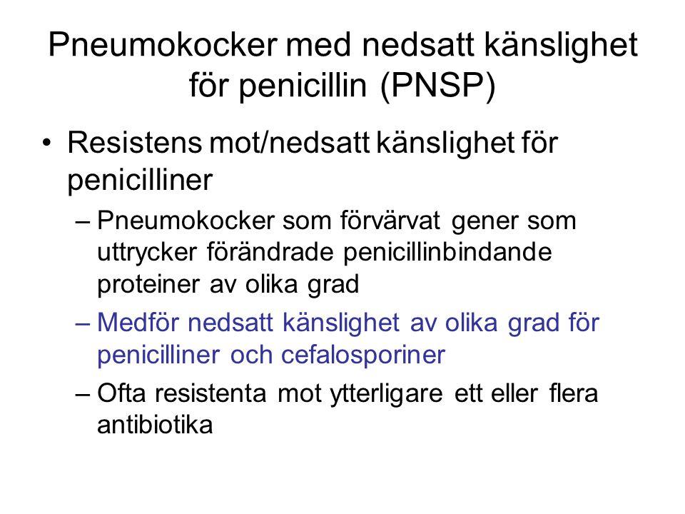 Pneumokocker med nedsatt känslighet för penicillin (PNSP) Resistens mot/nedsatt känslighet för penicilliner –Pneumokocker som förvärvat gener som uttr