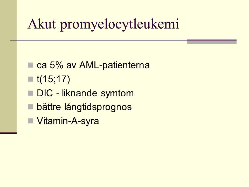Akut promyelocytleukemi ca 5% av AML-patienterna t(15;17) DIC - liknande symtom bättre långtidsprognos Vitamin-A-syra