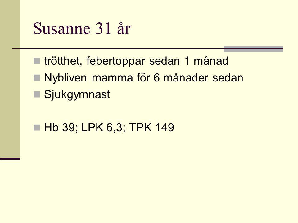 Susanne 31 år trötthet, febertoppar sedan 1 månad Nybliven mamma för 6 månader sedan Sjukgymnast Hb 39; LPK 6,3; TPK 149