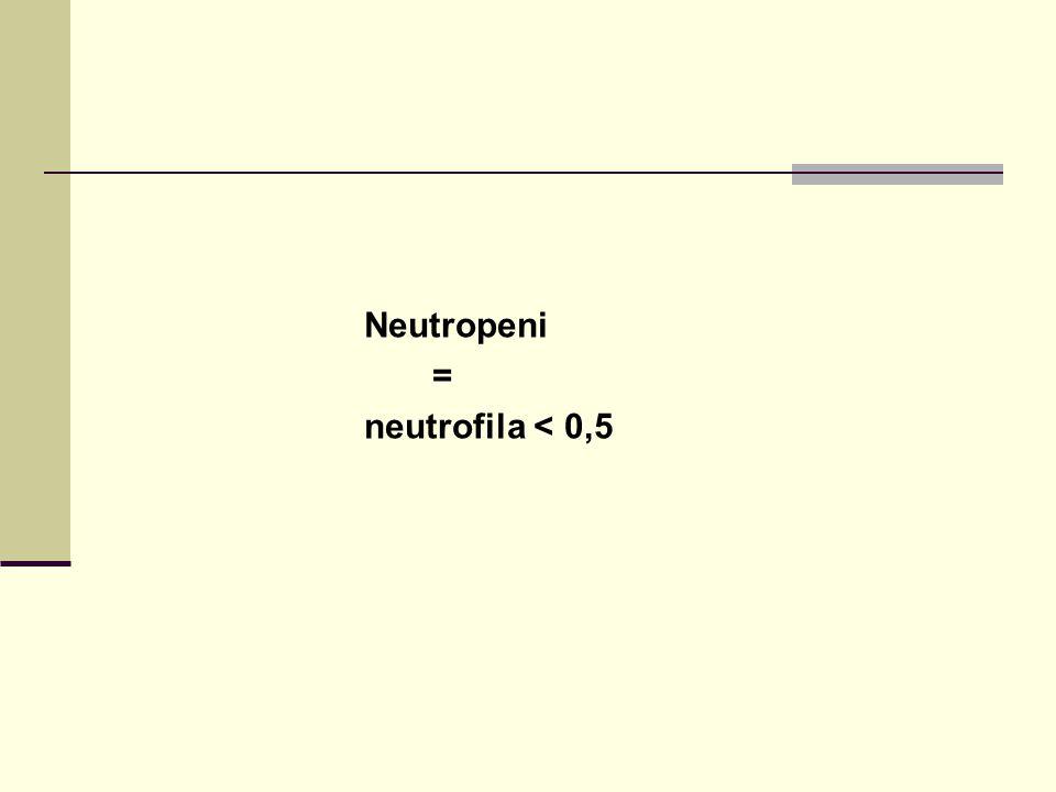 Neutropeni = neutrofila < 0,5