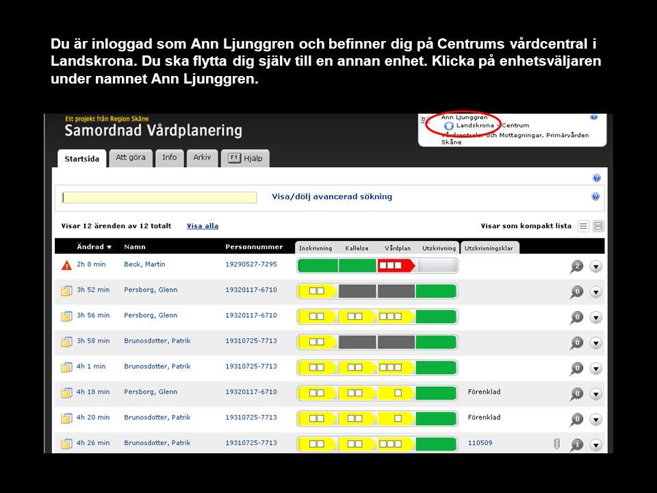 Du är inloggad som Ann Ljunggren och befinner dig på Centrums vårdcentral i Landskrona.