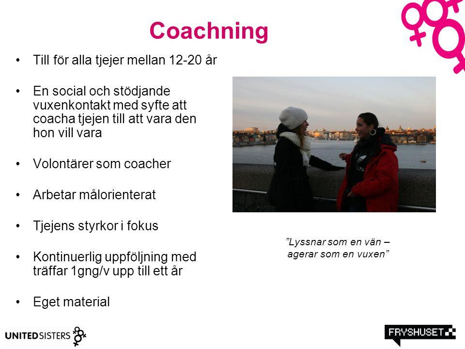 Coachning Till för alla tjejer mellan 12-20 år En social och stödjande vuxenkontakt med syfte att coacha tjejen till att vara den hon vill vara Volont