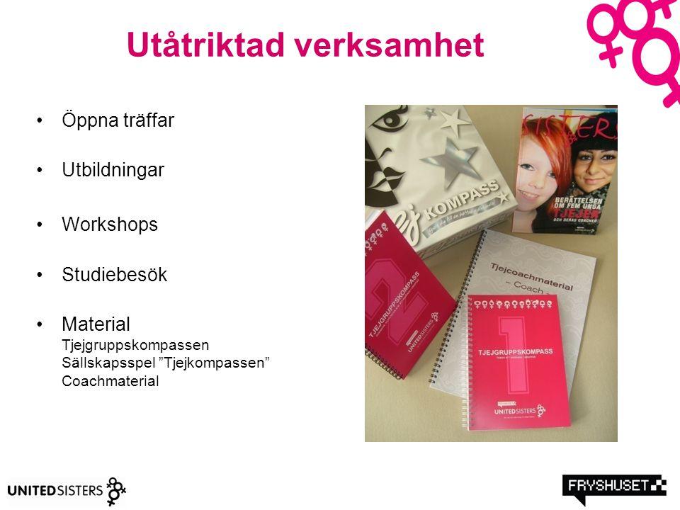 """Utåtriktad verksamhet Öppna träffar Utbildningar Workshops Studiebesök Material Tjejgruppskompassen Sällskapsspel """"Tjejkompassen"""" Coachmaterial"""