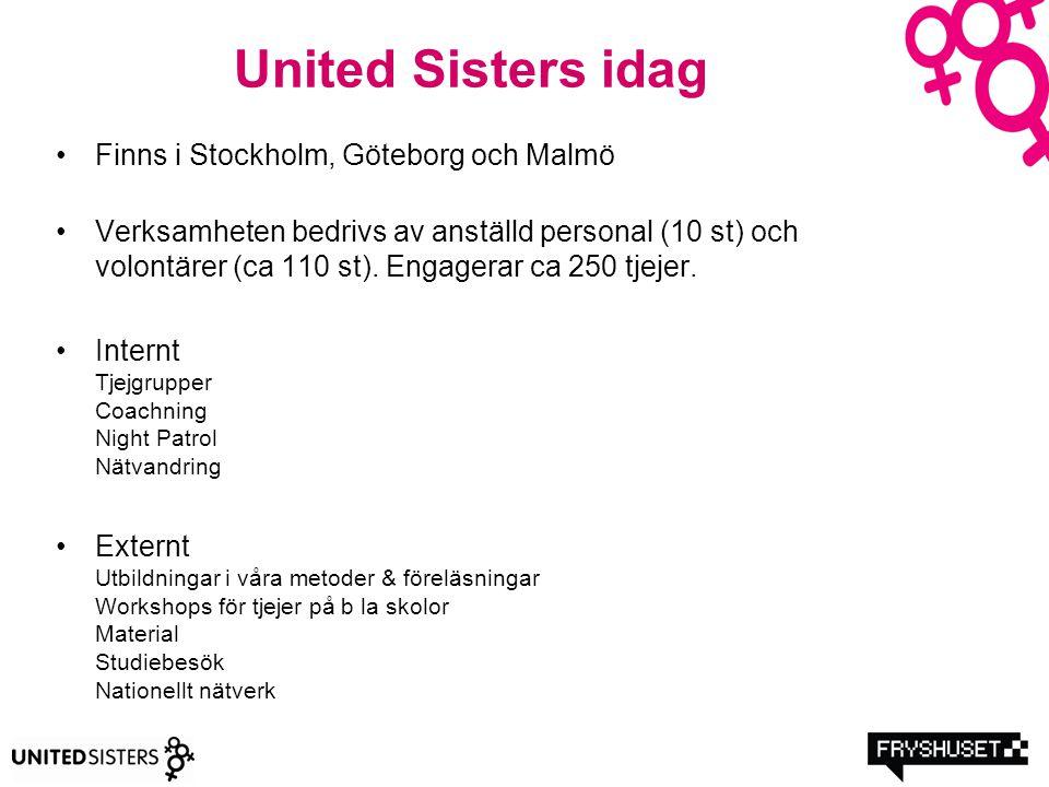 United Sisters idag Finns i Stockholm, Göteborg och Malmö Verksamheten bedrivs av anställd personal (10 st) och volontärer (ca 110 st). Engagerar ca 2