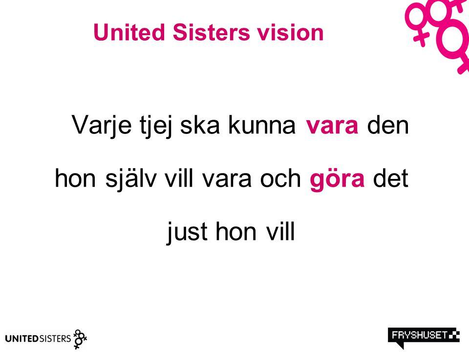 United Sisters vision Varje tjej ska kunna vara den hon själv vill vara och göra det just hon vill