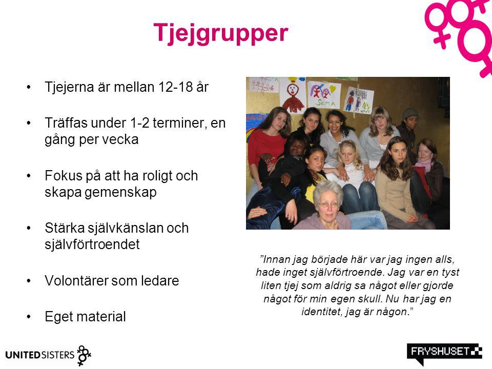 Tjejgrupper Tjejerna är mellan 12-18 år Träffas under 1-2 terminer, en gång per vecka Fokus på att ha roligt och skapa gemenskap Stärka självkänslan o