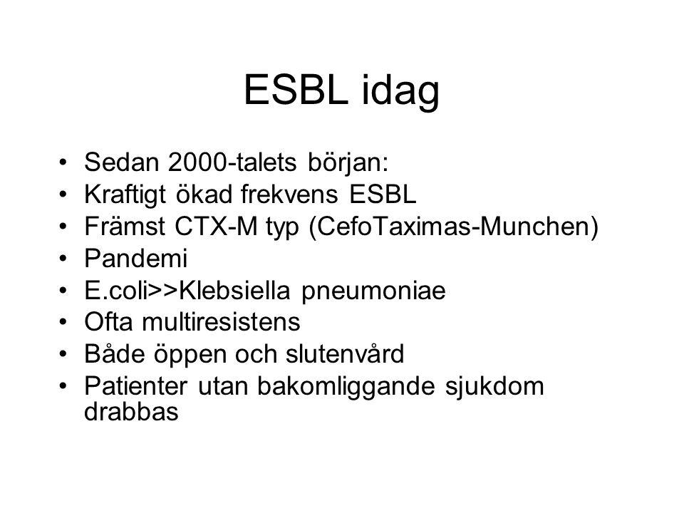 ESBL idag Sedan 2000-talets början: Kraftigt ökad frekvens ESBL Främst CTX-M typ (CefoTaximas-Munchen) Pandemi E.coli>>Klebsiella pneumoniae Ofta mult