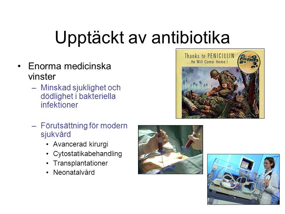 Upptäckt av antibiotika Enorma medicinska vinster –Minskad sjuklighet och dödlighet i bakteriella infektioner –Förutsättning för modern sjukvård Avanc