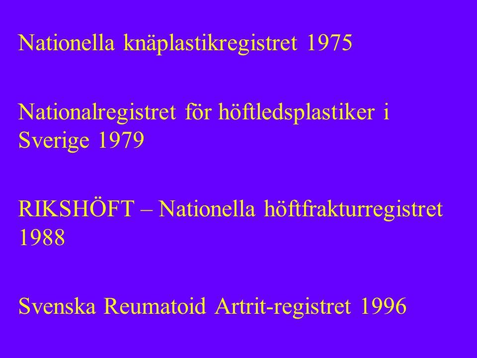 Nationella knäplastikregistret 1975 Nationalregistret för höftledsplastiker i Sverige 1979 RIKSHÖFT – Nationella höftfrakturregistret 1988 Svenska Reumatoid Artrit-registret 1996