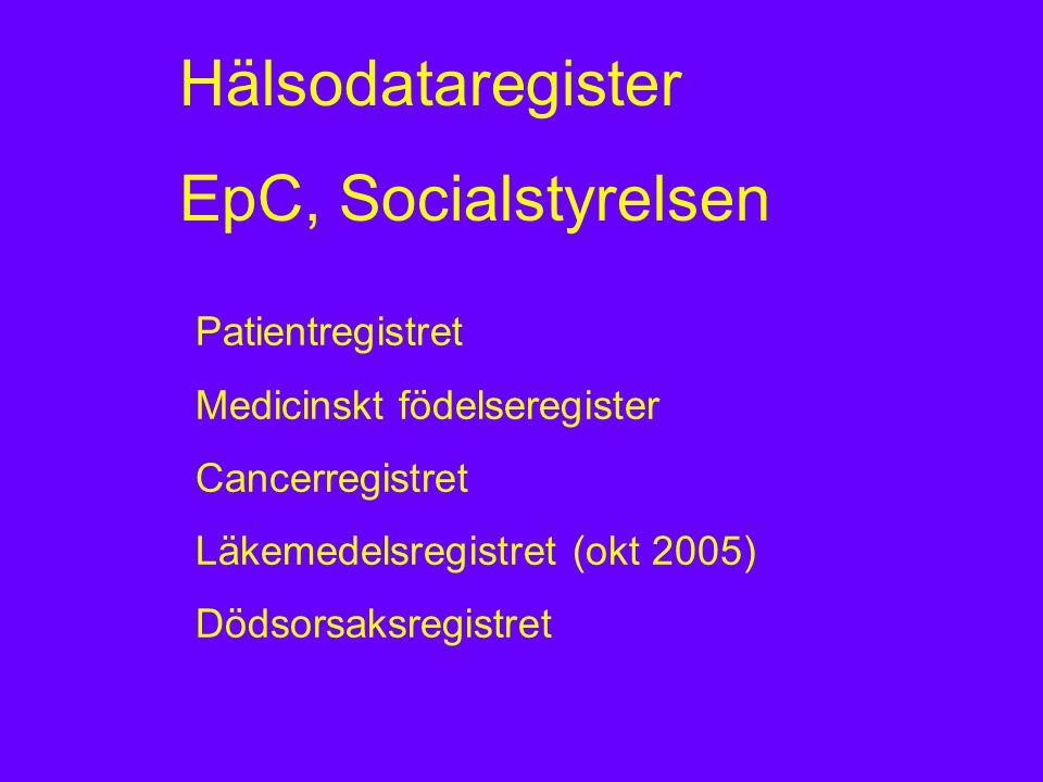 Hälsodataregister EpC, Socialstyrelsen Patientregistret Medicinskt födelseregister Cancerregistret Läkemedelsregistret (okt 2005) Dödsorsaksregistret