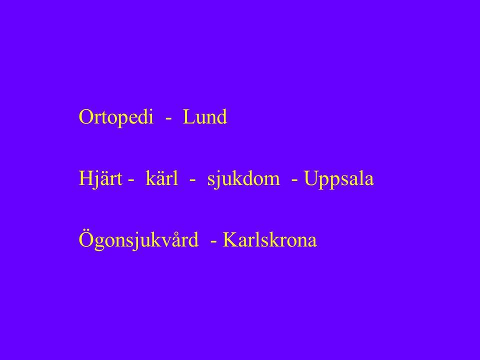 Ortopedi - Lund Hjärt - kärl - sjukdom - Uppsala Ögonsjukvård - Karlskrona