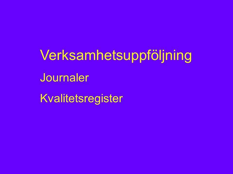 Verksamhetsuppföljning Journaler Kvalitetsregister