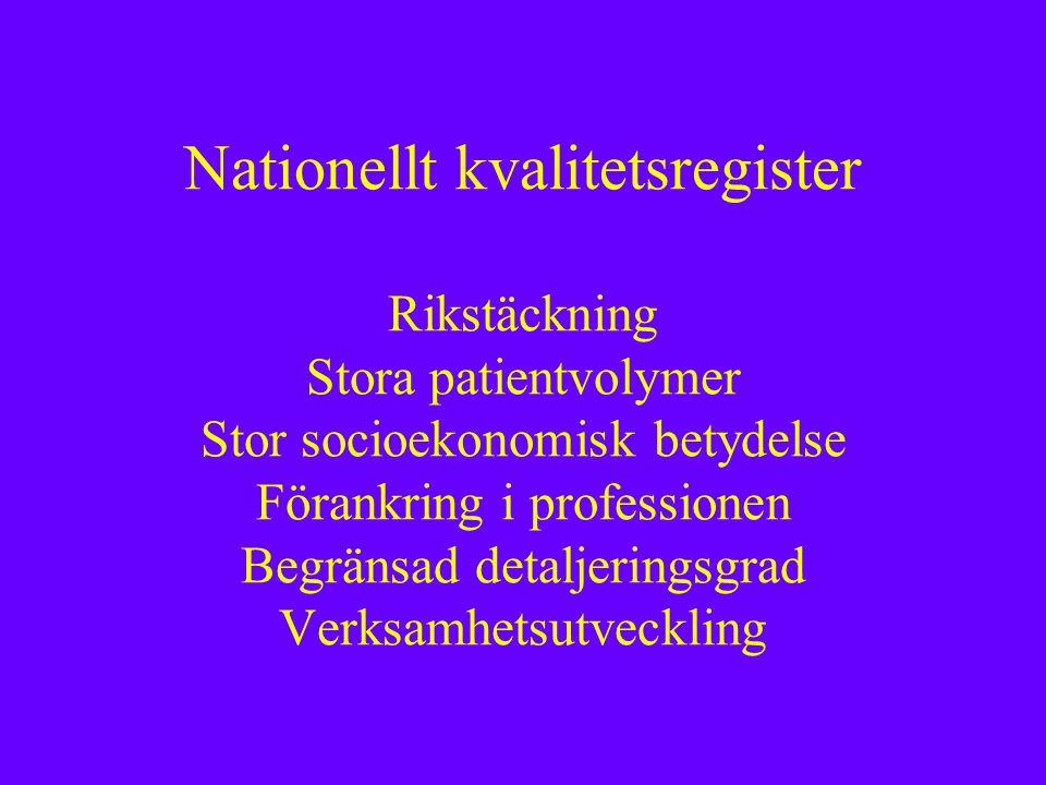 Nationellt kvalitetsregister Rikstäckning Stora patientvolymer Stor socioekonomisk betydelse Förankring i professionen Begränsad detaljeringsgrad Verksamhetsutveckling