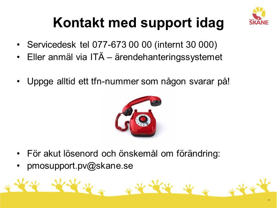 11 Kontakt med support idag Servicedesk tel 077-673 00 00 (internt 30 000) Eller anmäl via ITÄ – ärendehanteringssystemet Uppge alltid ett tfn-nummer som någon svarar på.