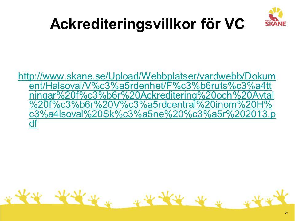 30 Ackrediteringsvillkor för VC http://www.skane.se/Upload/Webbplatser/vardwebb/Dokum ent/Halsoval/V%c3%a5rdenhet/F%c3%b6ruts%c3%a4tt ningar%20f%c3%b6r%20Ackreditering%20och%20Avtal %20f%c3%b6r%20V%c3%a5rdcentral%20inom%20H% c3%a4lsoval%20Sk%c3%a5ne%20%c3%a5r%202013.p df