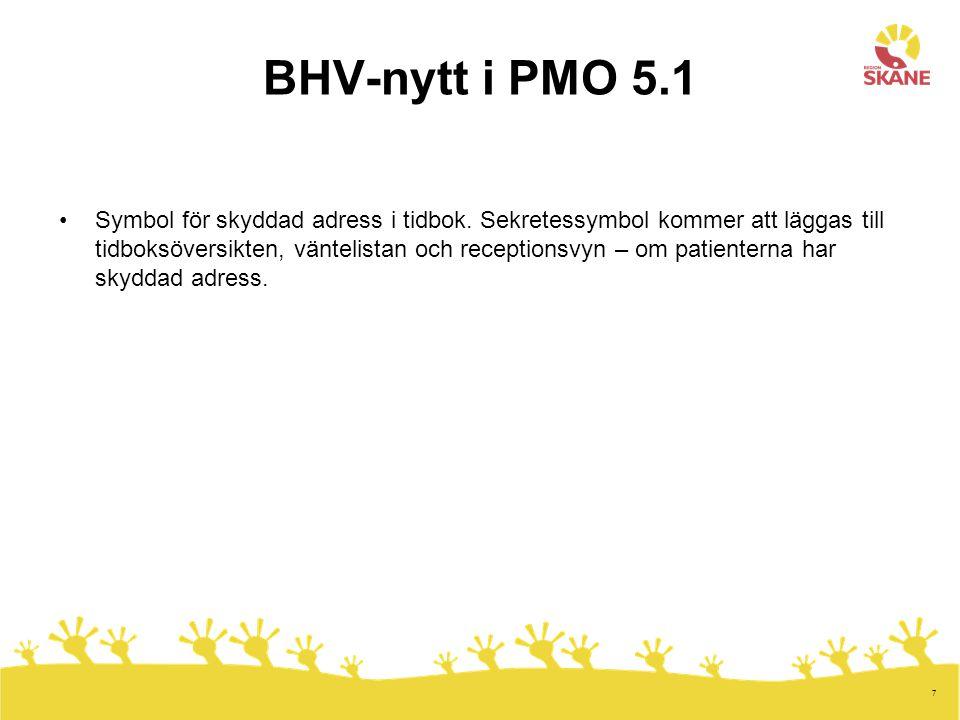 7 BHV-nytt i PMO 5.1 Symbol för skyddad adress i tidbok.