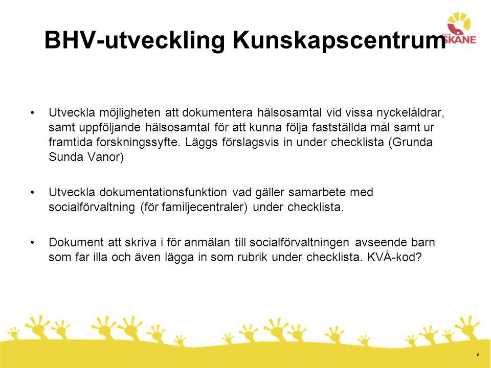 9 BHV-utveckling Kunskapscentrum Utveckla möjligheten att dokumentera hälsosamtal vid vissa nyckelåldrar, samt uppföljande hälsosamtal för att kunna följa fastställda mål samt ur framtida forskningssyfte.