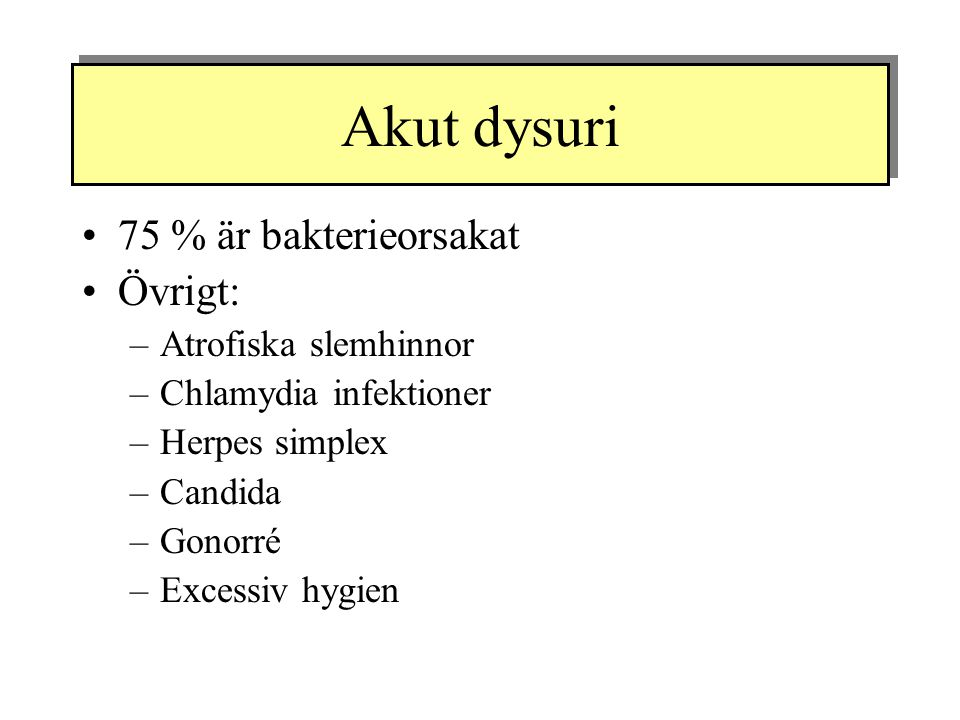 Akut dysuri 75 % är bakterieorsakat Övrigt: –Atrofiska slemhinnor –Chlamydia infektioner –Herpes simplex –Candida –Gonorré –Excessiv hygien