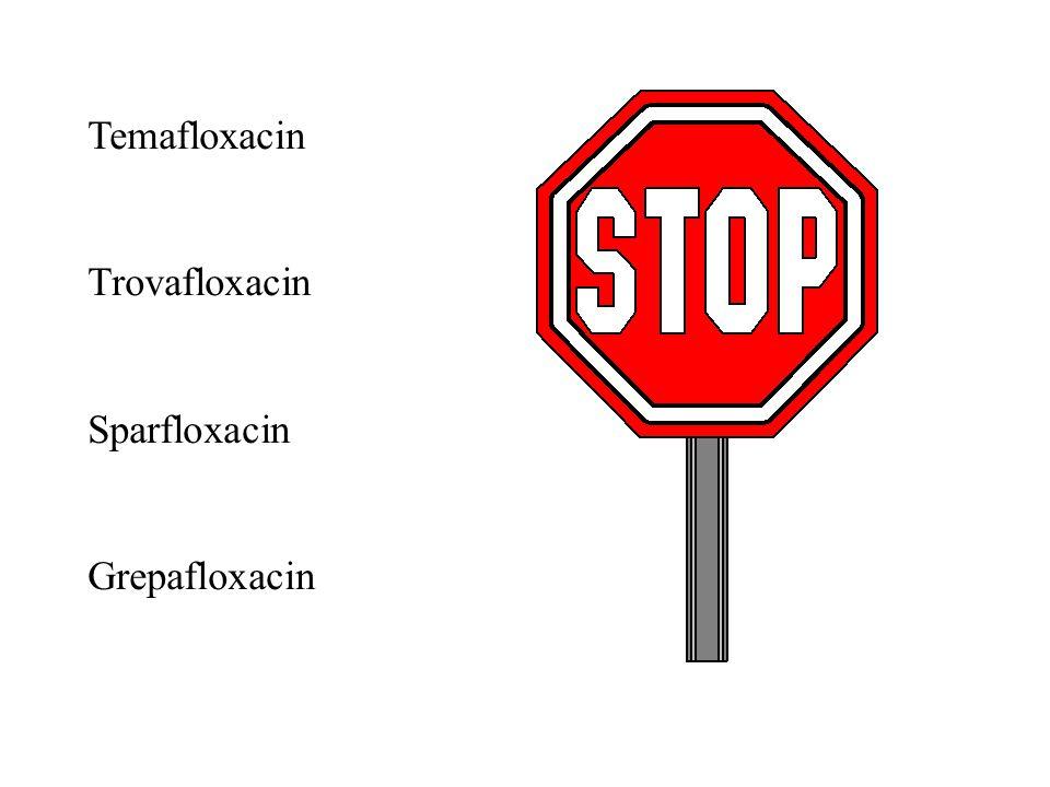 Temafloxacin Trovafloxacin Sparfloxacin Grepafloxacin