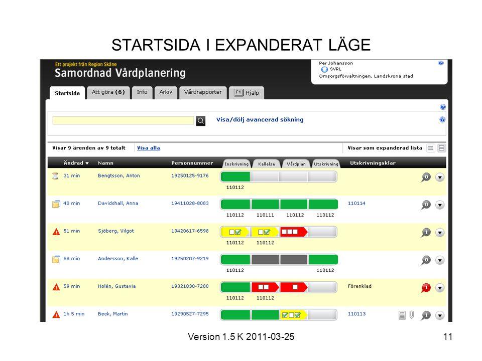 Version 1.5 K 2011-03-2511 STARTSIDA I EXPANDERAT LÄGE