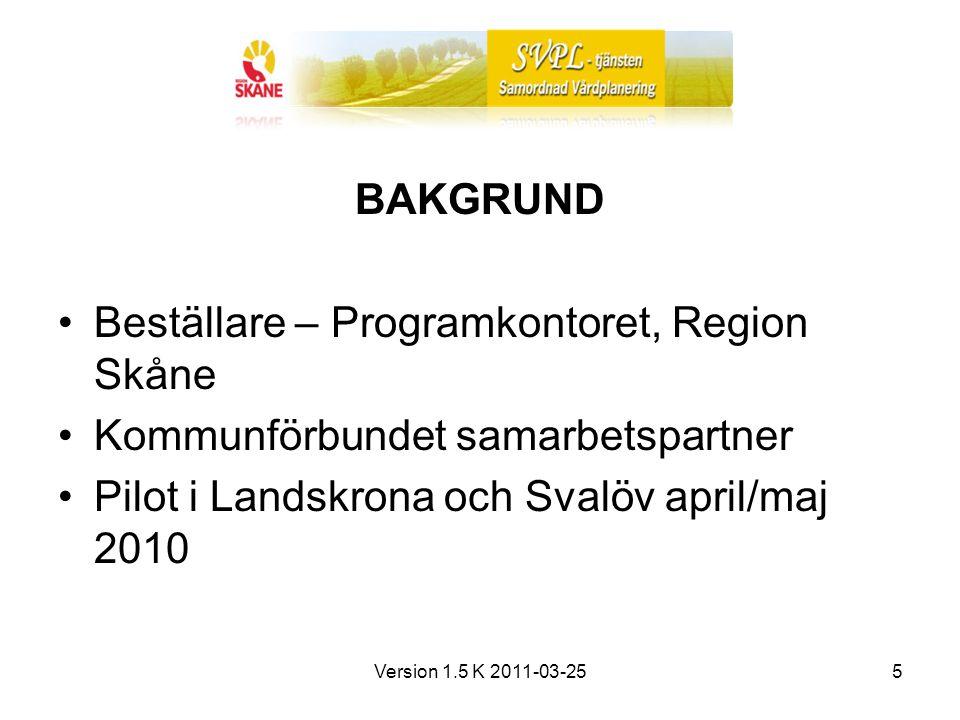 Version 1.5 K 2011-03-255 BAKGRUND Beställare – Programkontoret, Region Skåne Kommunförbundet samarbetspartner Pilot i Landskrona och Svalöv april/maj 2010