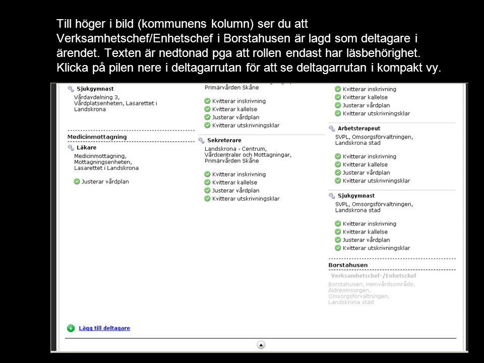 Till höger i bild (kommunens kolumn) ser du att Verksamhetschef/Enhetschef i Borstahusen är lagd som deltagare i ärendet.