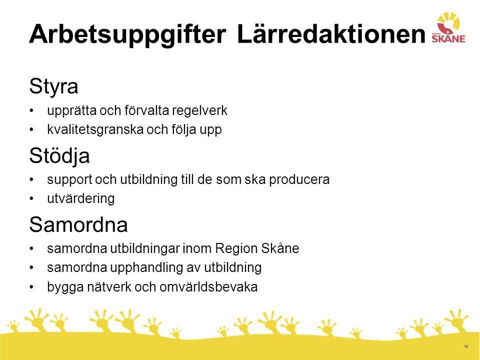 10 Arbetsuppgifter Lärredaktionen Styra upprätta och förvalta regelverk kvalitetsgranska och följa upp Stödja support och utbildning till de som ska producera utvärdering Samordna samordna utbildningar inom Region Skåne samordna upphandling av utbildning bygga nätverk och omvärldsbevaka