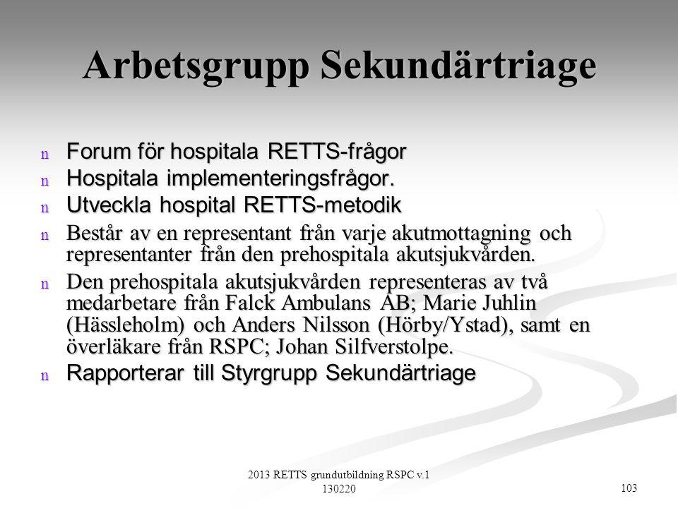 103 2013 RETTS grundutbildning RSPC v.1 130220 Arbetsgrupp Sekundärtriage n Forum för hospitala RETTS-frågor n Hospitala implementeringsfrågor. n Utve