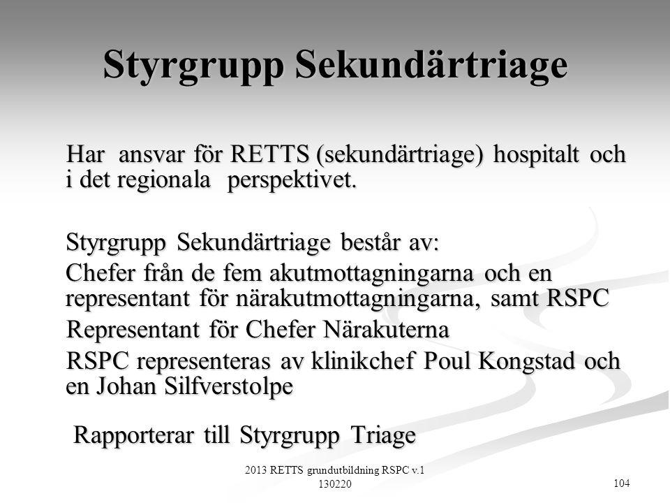 104 2013 RETTS grundutbildning RSPC v.1 130220 Styrgrupp Sekundärtriage Har ansvar för RETTS (sekundärtriage) hospitalt och i det regionala perspektiv