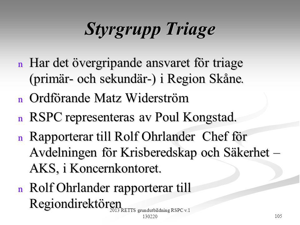 105 2013 RETTS grundutbildning RSPC v.1 130220 Styrgrupp Triage n Har det övergripande ansvaret för triage (primär- och sekundär-) i Region Skåne. n O