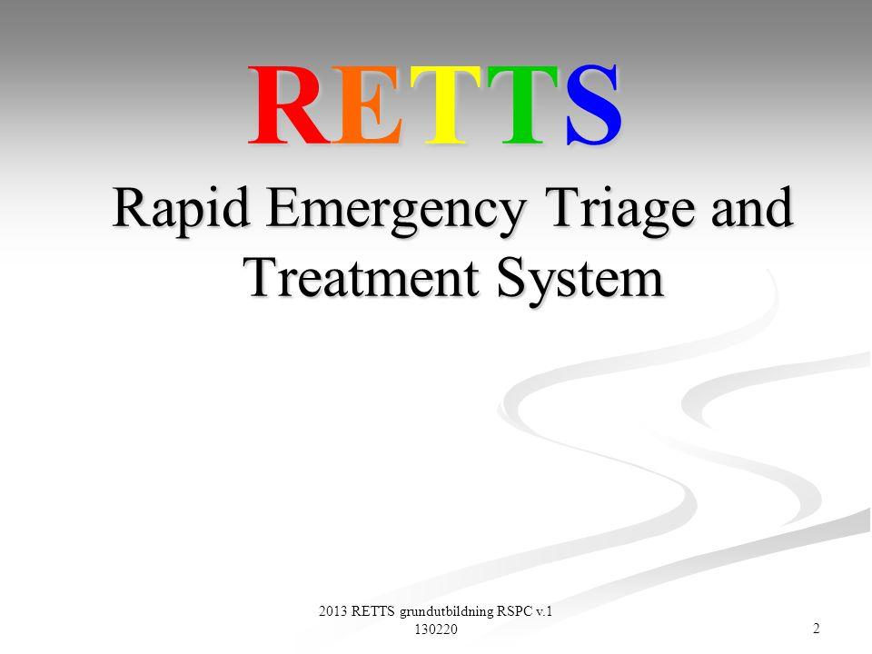 103 2013 RETTS grundutbildning RSPC v.1 130220 Arbetsgrupp Sekundärtriage n Forum för hospitala RETTS-frågor n Hospitala implementeringsfrågor.
