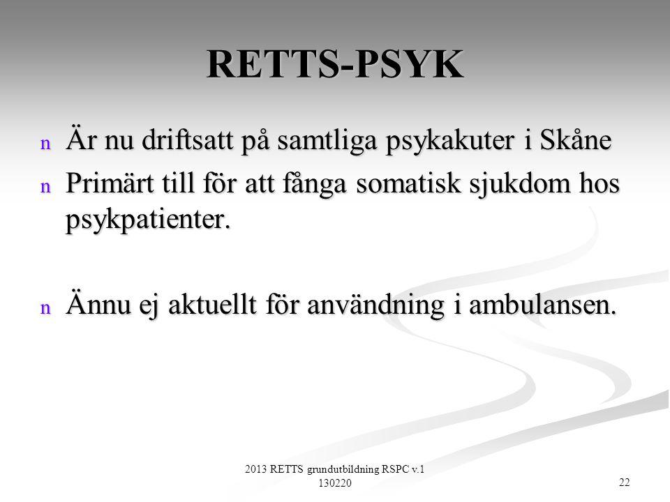 22 2013 RETTS grundutbildning RSPC v.1 130220 RETTS-PSYK n Är nu driftsatt på samtliga psykakuter i Skåne n Primärt till för att fånga somatisk sjukdo