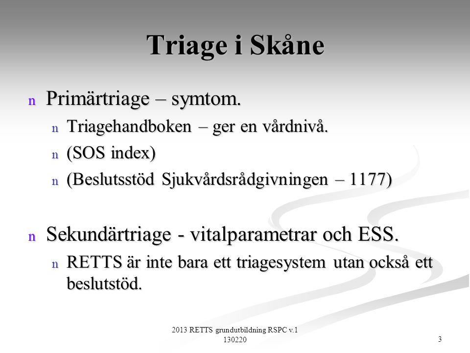 3 2013 RETTS grundutbildning RSPC v.1 130220 Triage i Skåne n Primärtriage – symtom. n Triagehandboken – ger en vårdnivå. n (SOS index) n (Beslutsstöd