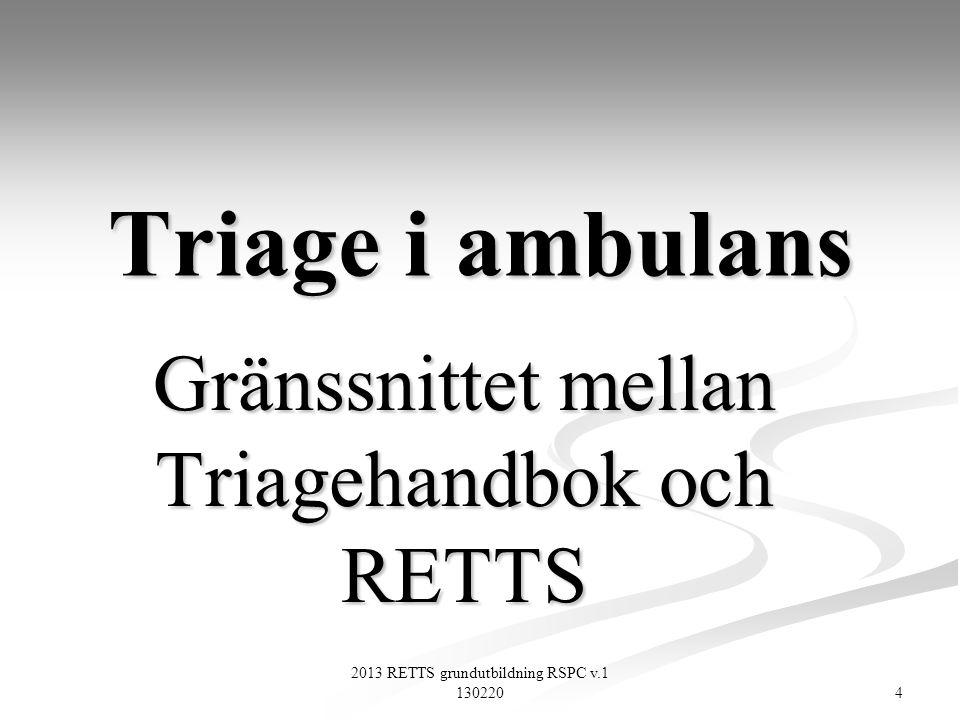 85 2013 RETTS grundutbildning RSPC v.1 130220 RETTS A 2013 Skåne Anvisningar Prioritering vid vissa tillstånd (3) Vid trauma används ESS 39 för ställningstagande till om sjukhuset skall förvarnas.