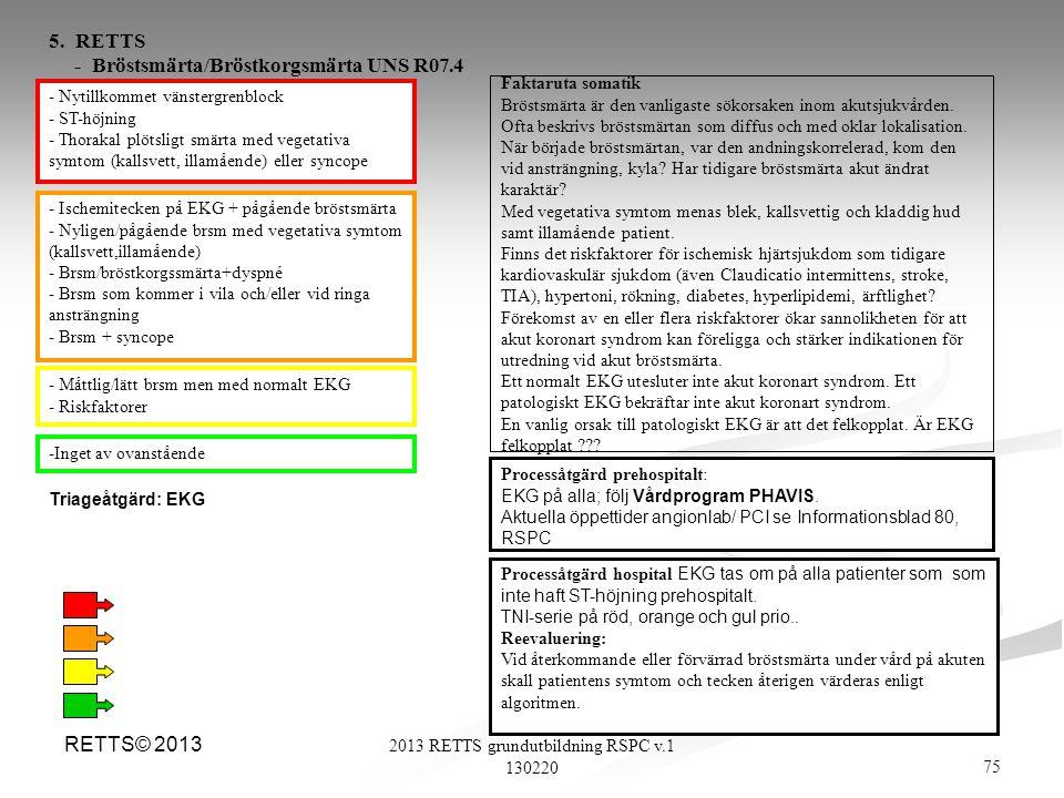 75 2013 RETTS grundutbildning RSPC v.1 130220 RETTS© 2013 - Nytillkommet vänstergrenblock - ST-höjning - Thorakal plötsligt smärta med vegetativa symt