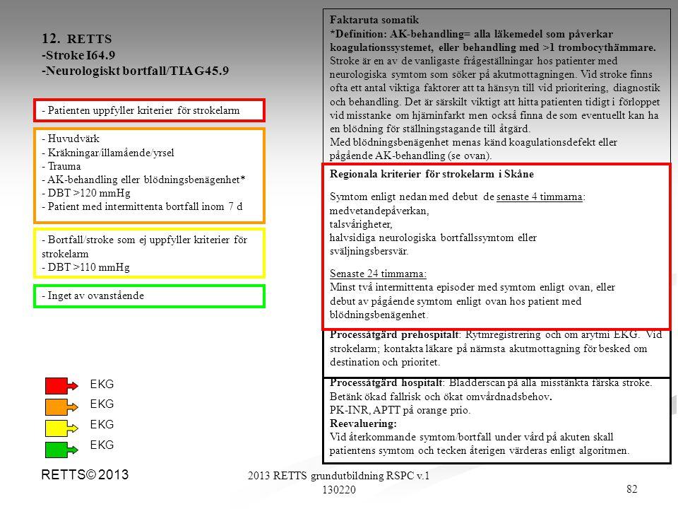 82 2013 RETTS grundutbildning RSPC v.1 130220 RETTS© 2013 - Huvudvärk - Kräkningar/illamående/yrsel - Trauma - AK-behandling eller blödningsbenägenhet