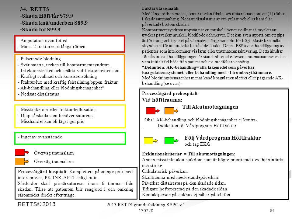 84 2013 RETTS grundutbildning RSPC v.1 130220 RETTS© 2013 - Pulserande blödning - Svår smärta, tecken till kompartmentsyndrom. - Infektionstecken och
