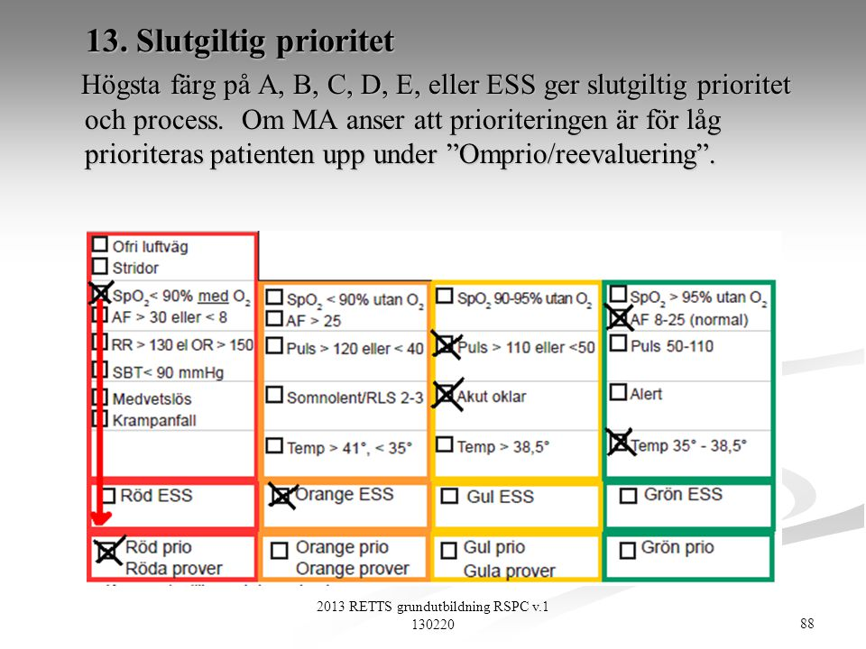 88 2013 RETTS grundutbildning RSPC v.1 130220 13. Slutgiltig prioritet 13. Slutgiltig prioritet Högsta färg på A, B, C, D, E, eller ESS ger slutgiltig