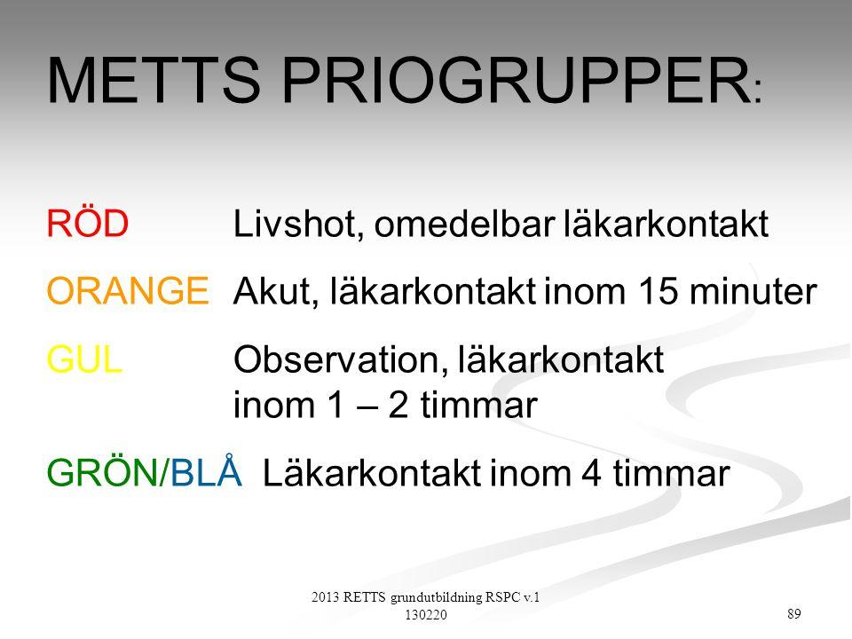 89 2013 RETTS grundutbildning RSPC v.1 130220 METTS PRIOGRUPPER : RÖD Livshot, omedelbar läkarkontakt ORANGE Akut, läkarkontakt inom 15 minuter GUL Ob