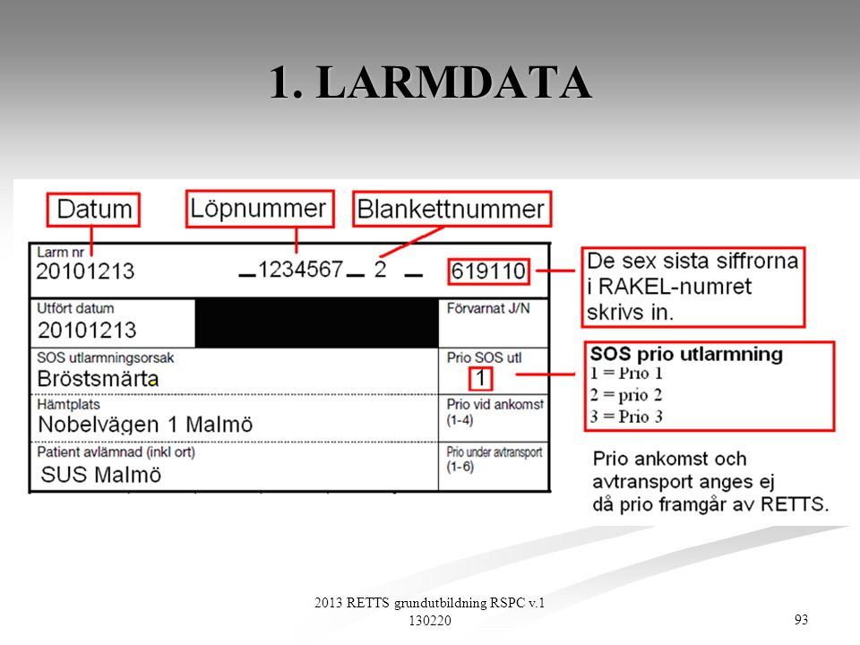 93 2013 RETTS grundutbildning RSPC v.1 130220 1. LARMDATA
