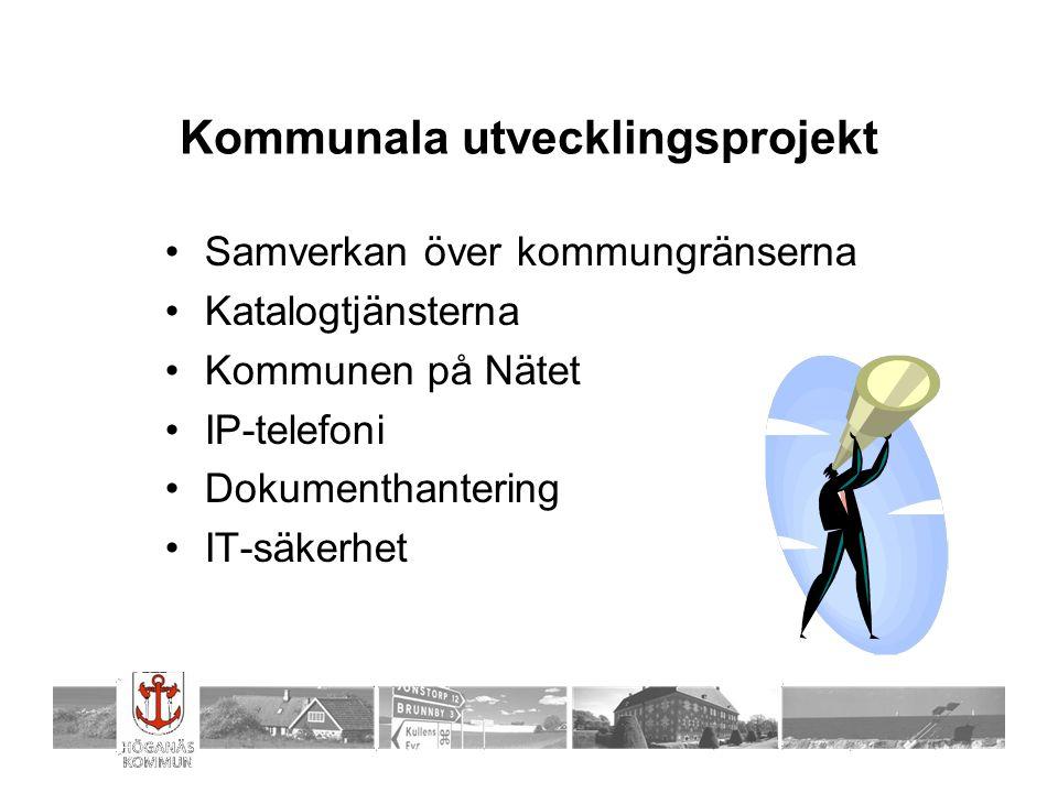 Kommunala utvecklingsprojekt Samverkan över kommungränserna Katalogtjänsterna Kommunen på Nätet IP-telefoni Dokumenthantering IT-säkerhet