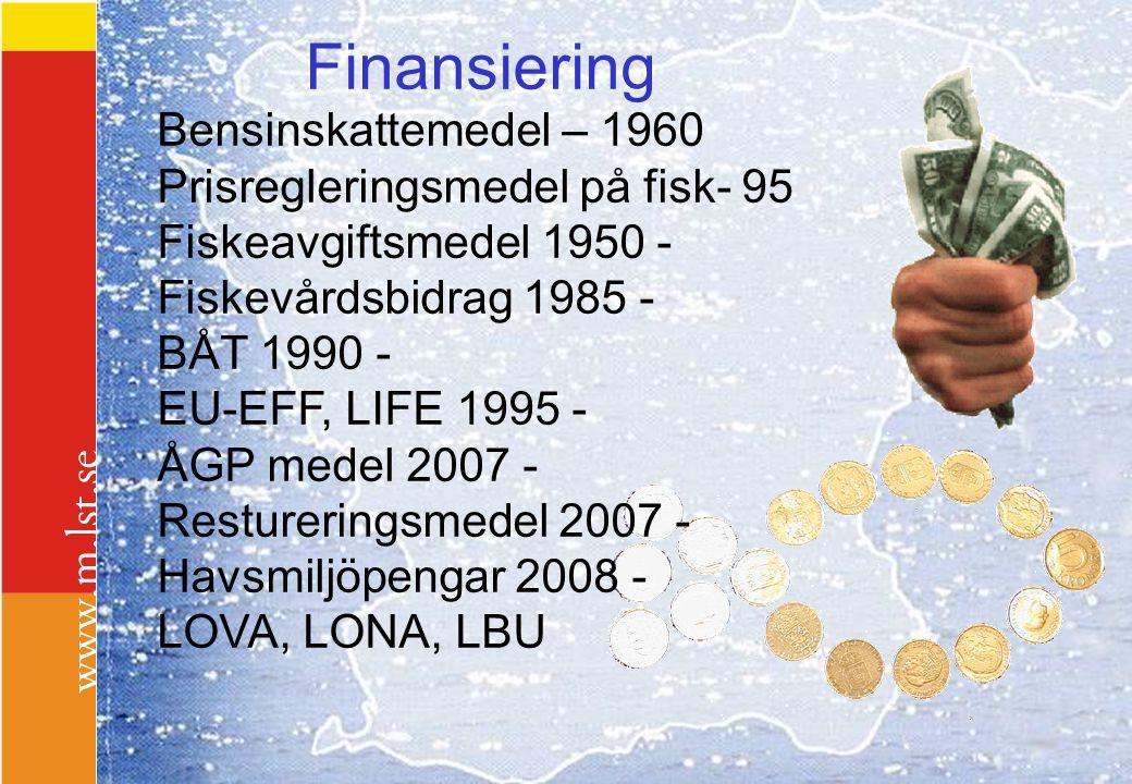 Finansiering Bensinskattemedel – 1960 Prisregleringsmedel på fisk- 95 Fiskeavgiftsmedel 1950 - Fiskevårdsbidrag 1985 - BÅT 1990 - EU-EFF, LIFE 1995 -