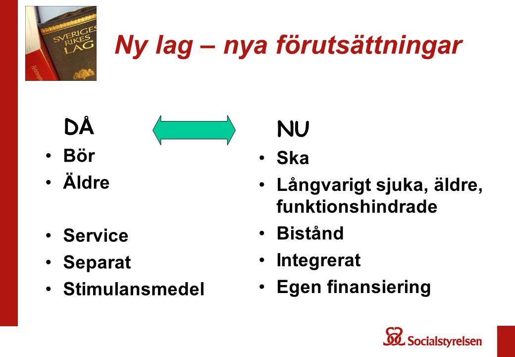 Ny lag – nya förutsättningar D Å Bör Äldre Service Separat Stimulansmedel NU Ska Långvarigt sjuka, äldre, funktionshindrade Bistånd Integrerat Egen finansiering