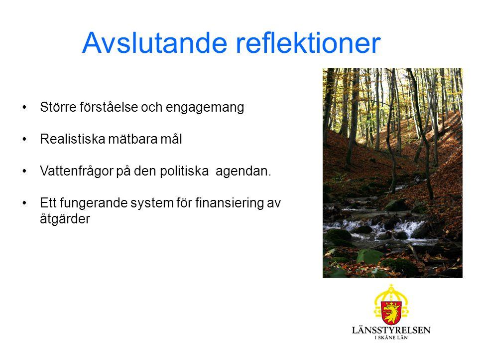 Avslutande reflektioner Större förståelse och engagemang Realistiska mätbara mål Vattenfrågor på den politiska agendan.