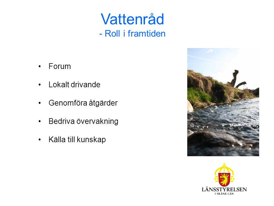 Vattenråd - Roll i framtiden Forum Lokalt drivande Genomföra åtgärder Bedriva övervakning Källa till kunskap