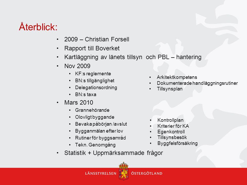 Återblick: 2009 – Christian Forsell Rapport till Boverket Kartläggning av länets tillsyn och PBL – hantering Nov 2009 KF:s reglemente BN:s tillgänglig